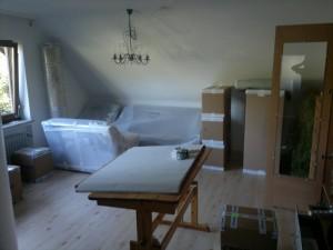 Wohnzimmer im eingepackten Zustand